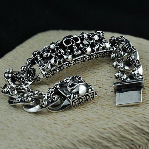 Men S Sterling Silver Skulls Bracelet