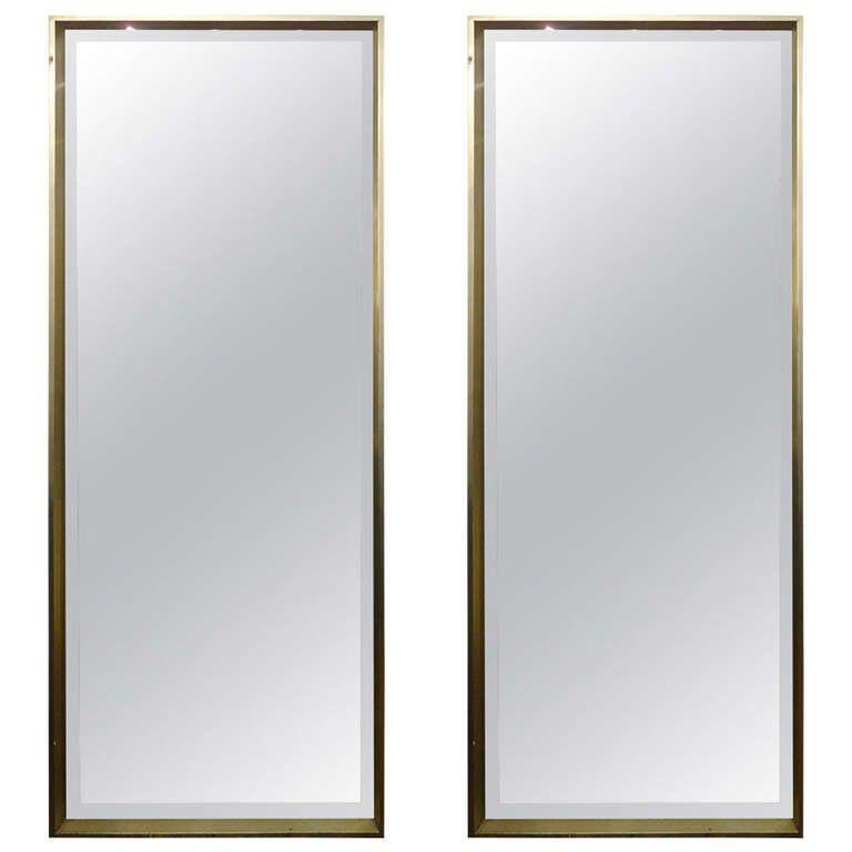 Sleek Pair of Modern Tall Bevelled Mirrors in Silver Leaf Frame ...