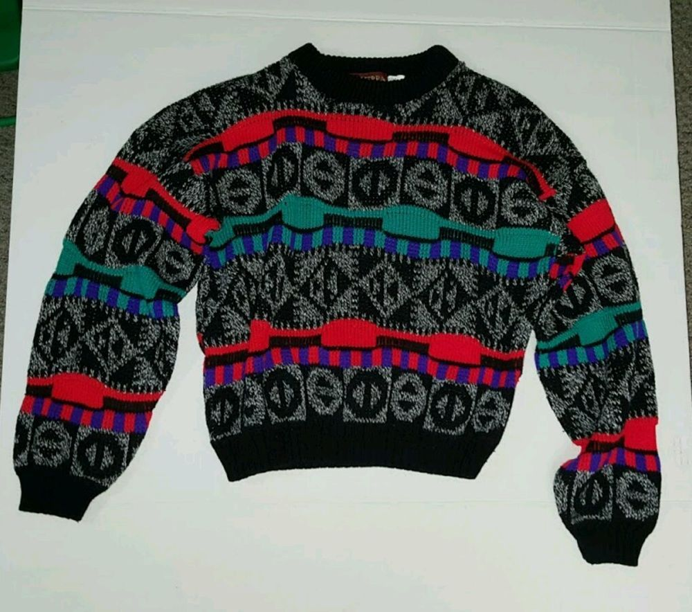 80's child sweater red purple green gray vintage Size 8 runs small  #849