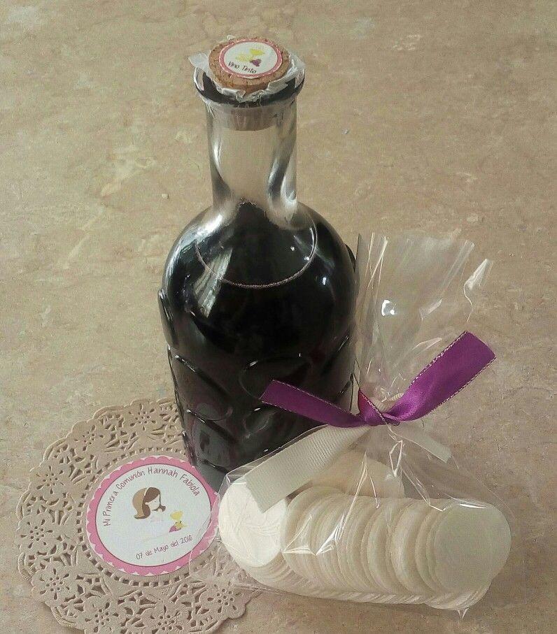 Botellas De Vino Decoradas Para Primera Comunion.Botella De Vino Tinto Con Ostias Para Primera Comunion