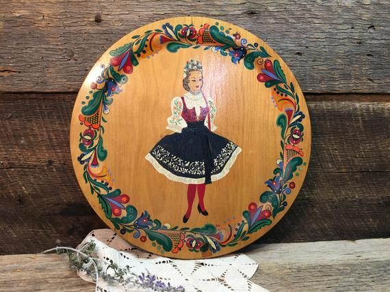 Vintage Folk Art Tray Wooden Fasco Hand Painted Hanging Tole Painted #tolepainting