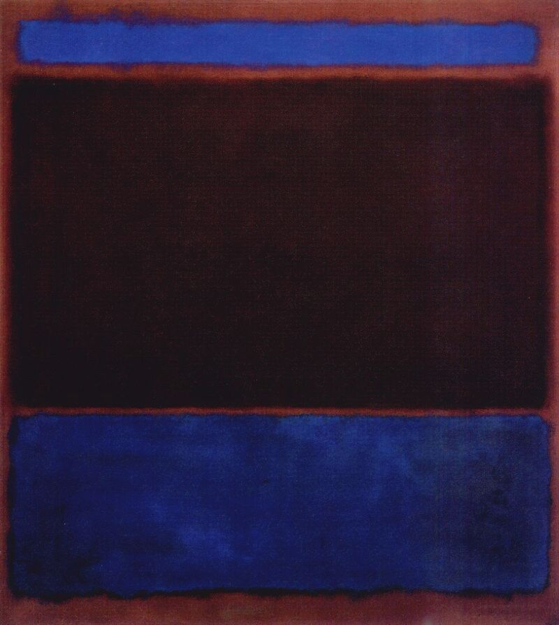 Mark Rothko, No. 3 (Bright Blue, Brown, Dark Blue on Wine) 1962