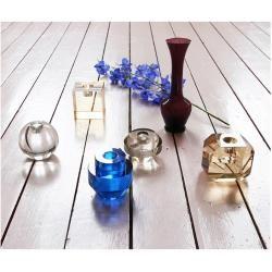 Photo of Crystal glass candle holder amber diamond hklivinghkliving