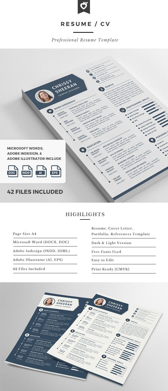 Infographic Resume Template Resume Cv Template Design With Clean Infographics  My Next