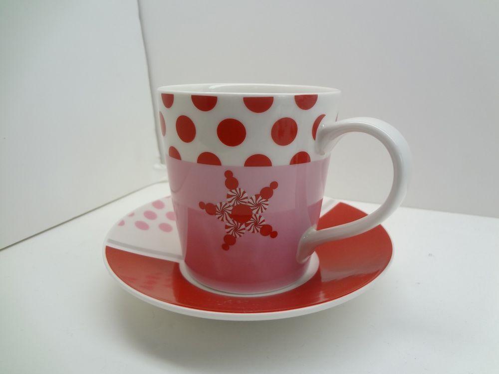 Starbucks Holiday 2007 Peppermint Snowflake Polka Dot Mug Cup With Saucer 10oz #Starbucks