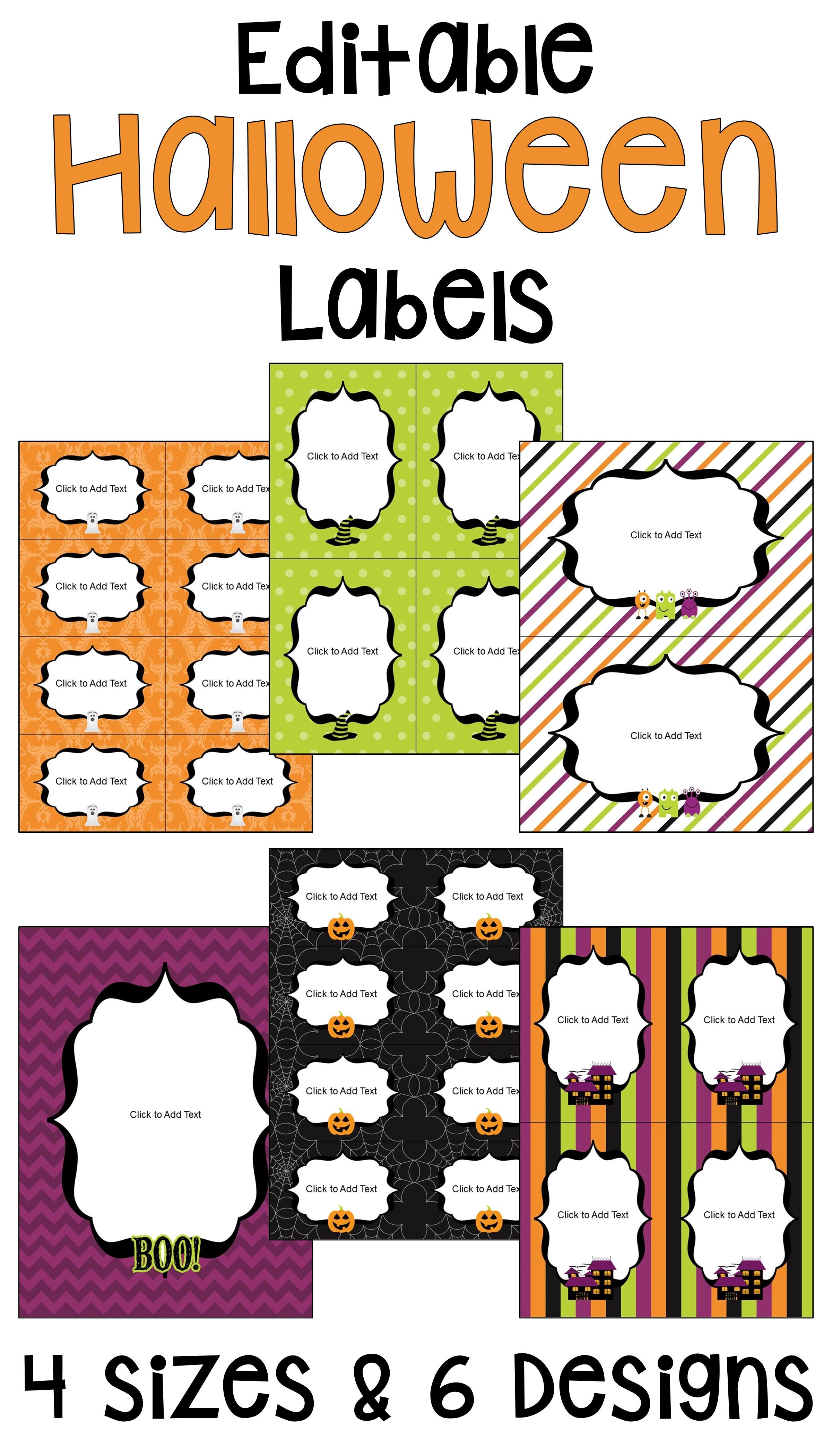 Halloween Editable Labels And T Tags In