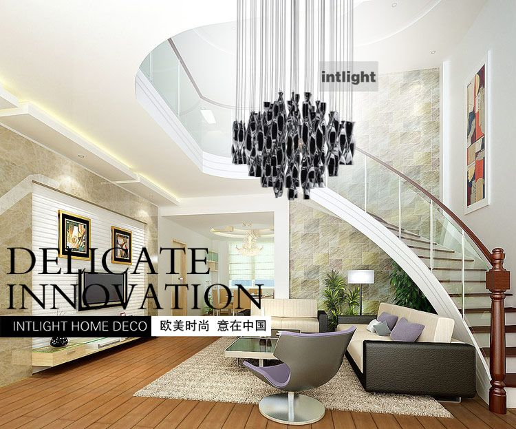 Hybrid-type stair large chandelier Modern glass pendant light ...