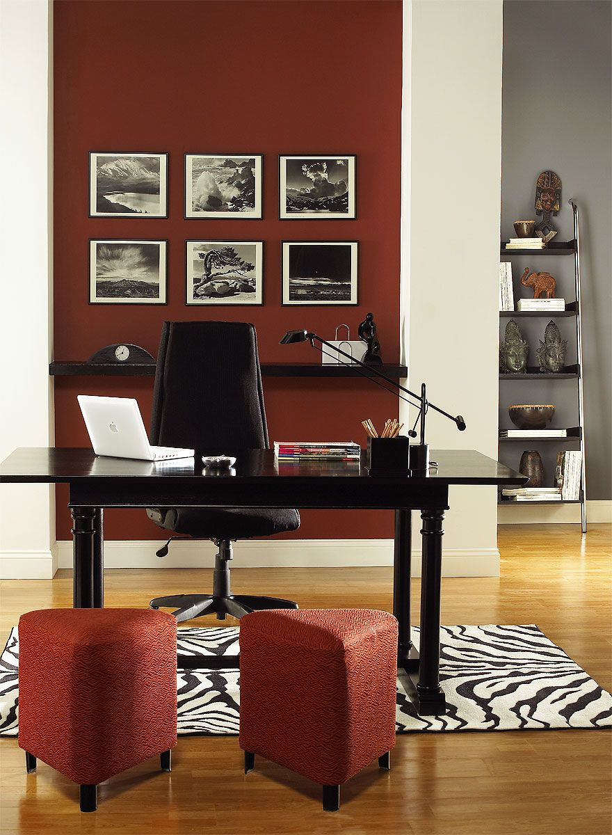Office paint color schemes Professional Office Resplendently Red Home Office Hot Apple Spice 200520 accent Wall Gray Shower 212530 back Wall Dove Wing Oc18 trim Columns Pinterest Interior Paint Ideas And Inspiration Home Office Color Inspiration