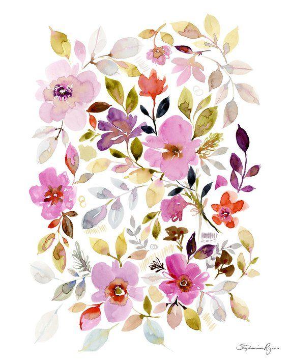 art print floral garden in 2018 products art prints art watercolor
