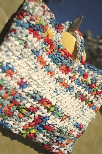 Crocheted bag made out of plastic bags