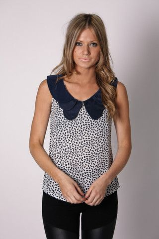 swedish top- navy patterned
