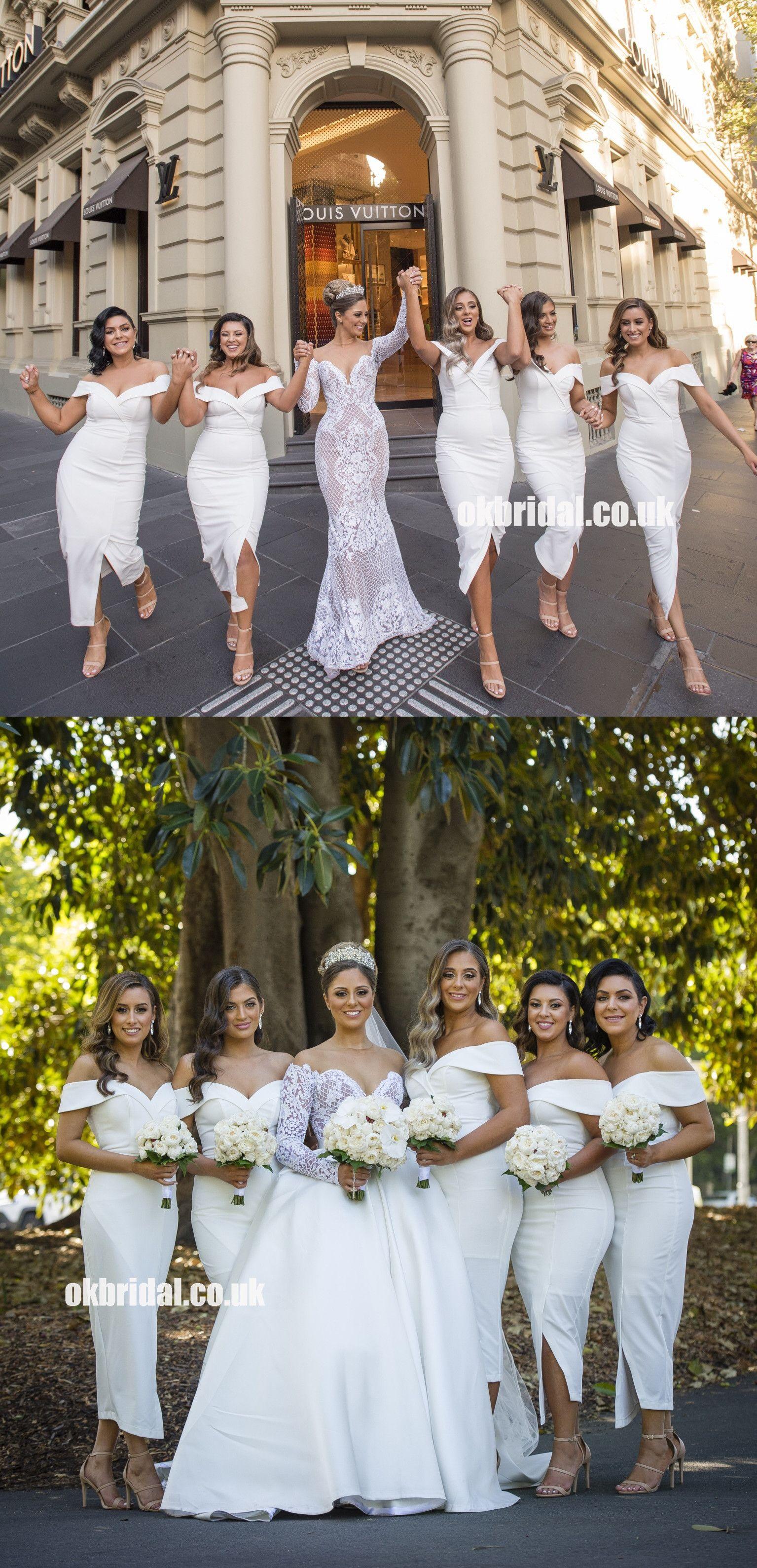 White short tealength bridesmaid dress off shoulder slit backless