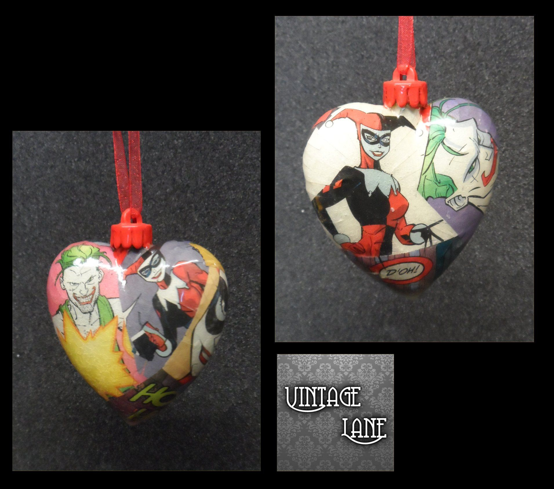 Harley Quinn and The Joker heart baubles for sale at www.vintagelane.co.uk