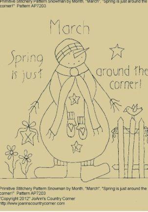 "Primitive Stitchery Pattern Snowman October/"" Autumn welcome Autumn blessings!/"""