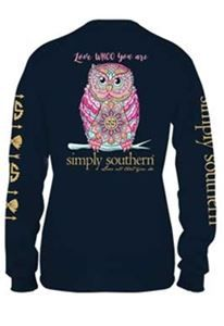 3279d18f7818 Simply Southern Long Sleeve Tees Owl T-shirt for Women in Navy LS-PRPWHOO- NAVY
