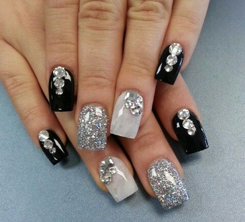 60 examples of black and white nail art black silver nails 60 examples of black and white nail art prinsesfo Images