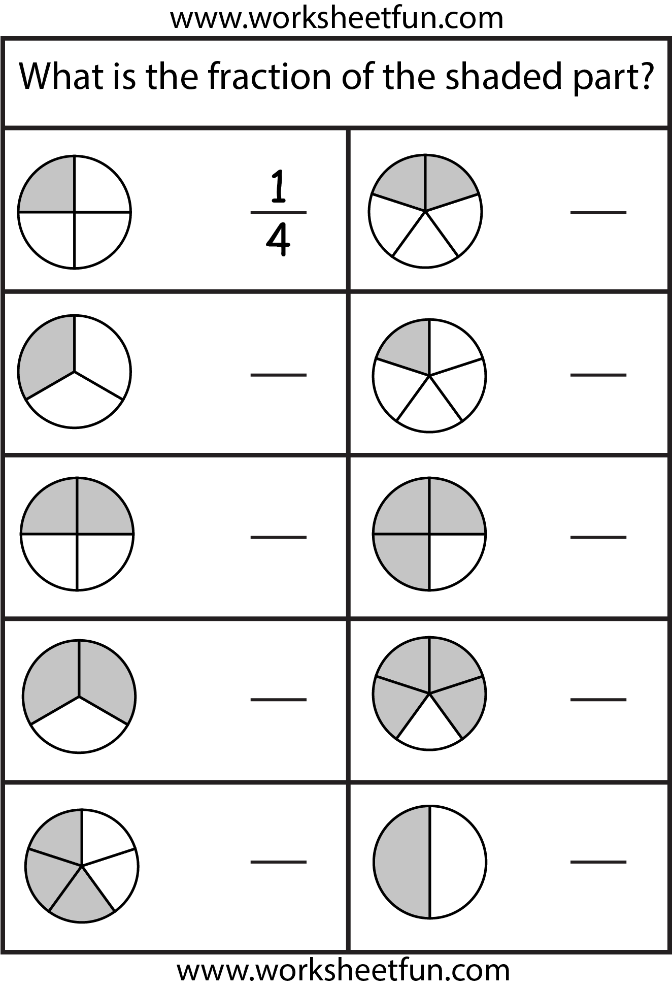 Fraction worksheets for 2nd grade printable