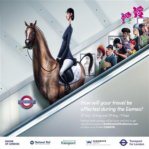 London transport poster on travelling to the city for the 2012 Olympic games