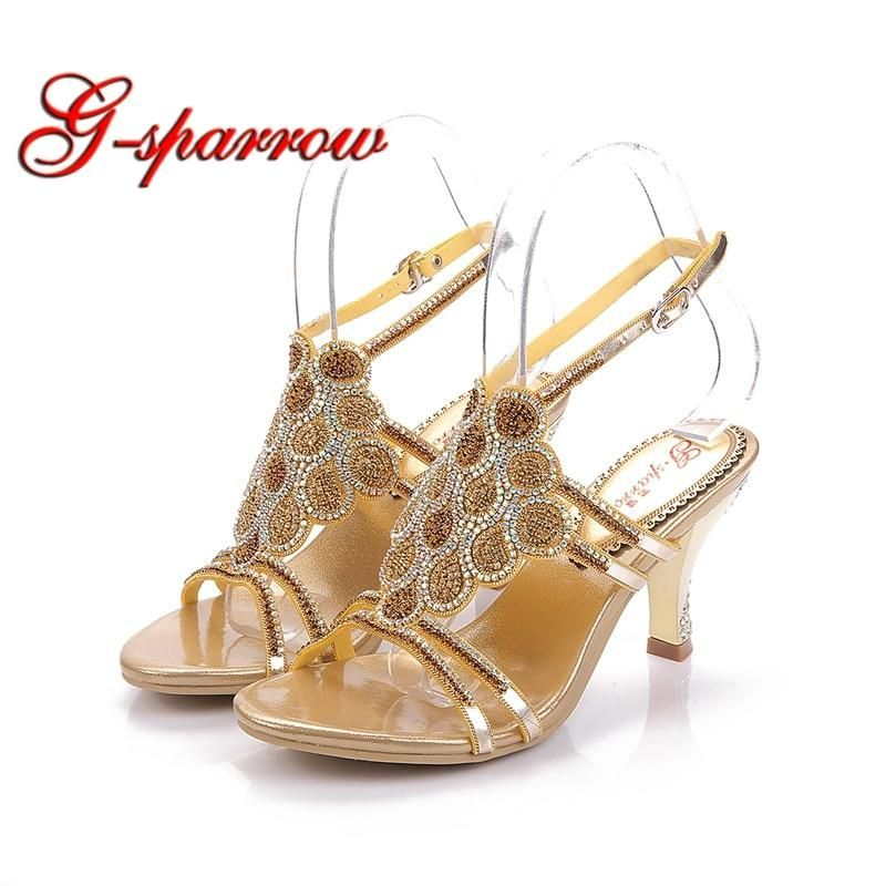 03ee73333b8a06 Fiancee Wedding Shoes Fashion Summer Sandals Woman Newest Style High Heel Rhinestone  Shoes Gift for Daughter