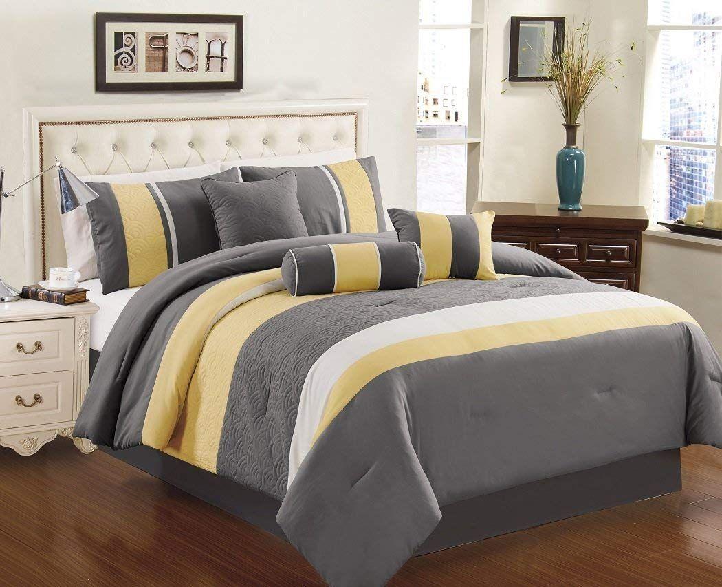 Chezmoi Collection 7piece Sunvale Yellow Grey White Comforter