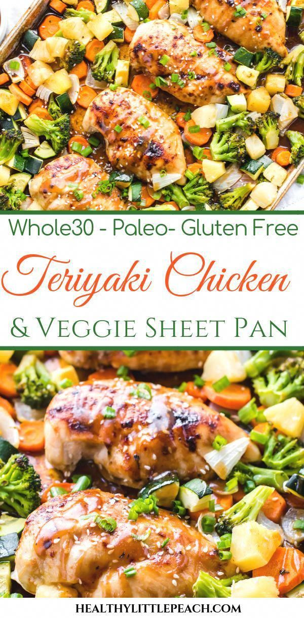An easy and delicious chicken teriyaki sheet pan with veggies that is a Whole30 and Paleo compliant meal that the whole family will love.