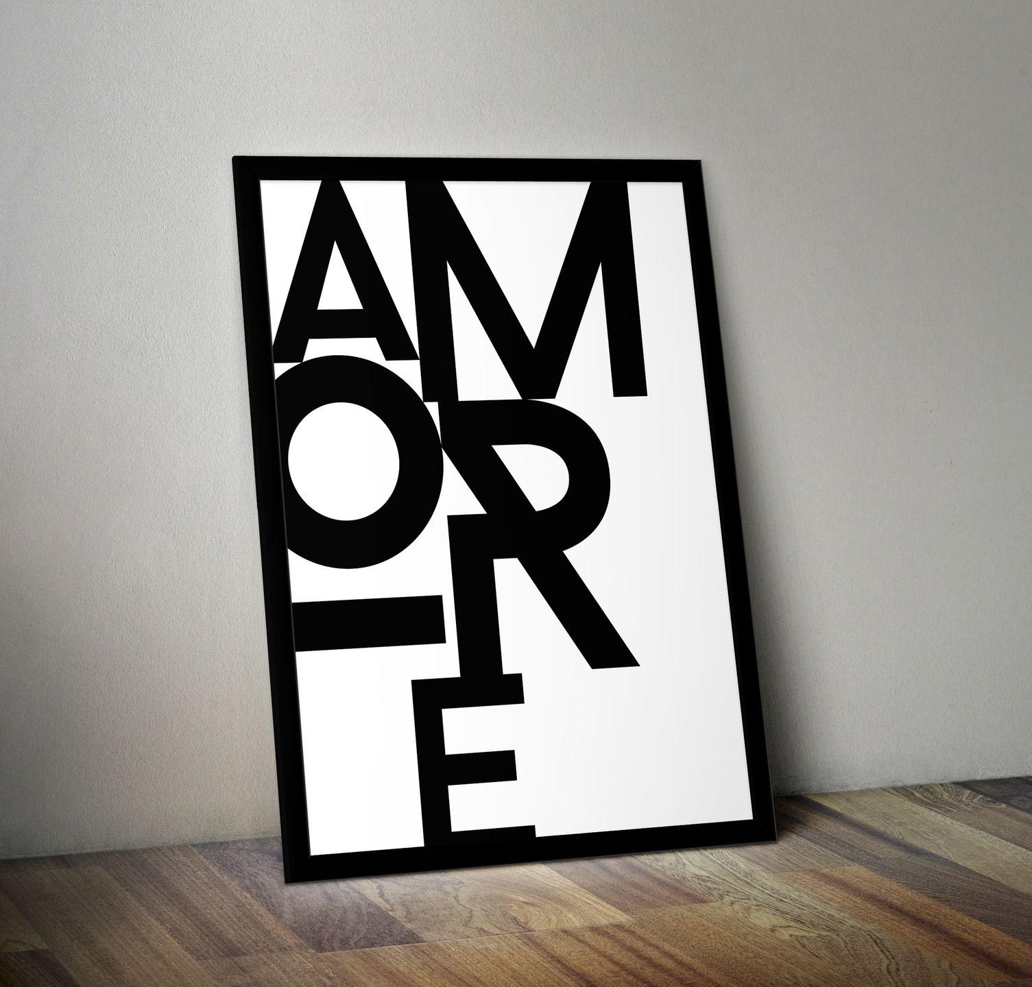 affiche typographie amore texte t l charger affiches illustrations posters par rgb. Black Bedroom Furniture Sets. Home Design Ideas