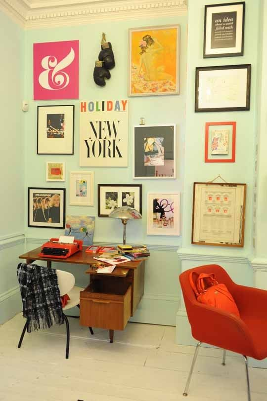 Icy mint green walls and framed prints <3 | Kate Spade pop-up shop ...