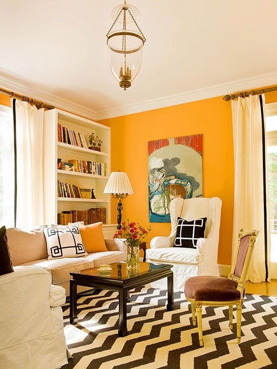 Paint Design For Living Room Walls: What Colors Go With Orange?