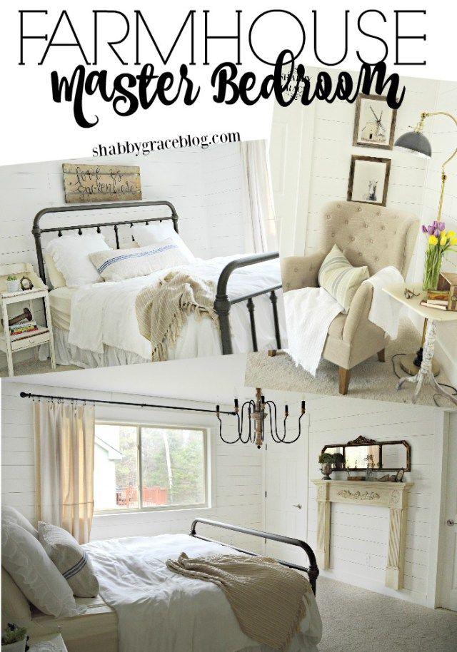 Farmhouse Master Bedroom Reveal White Shiplap White Bedding And Grain Sack
