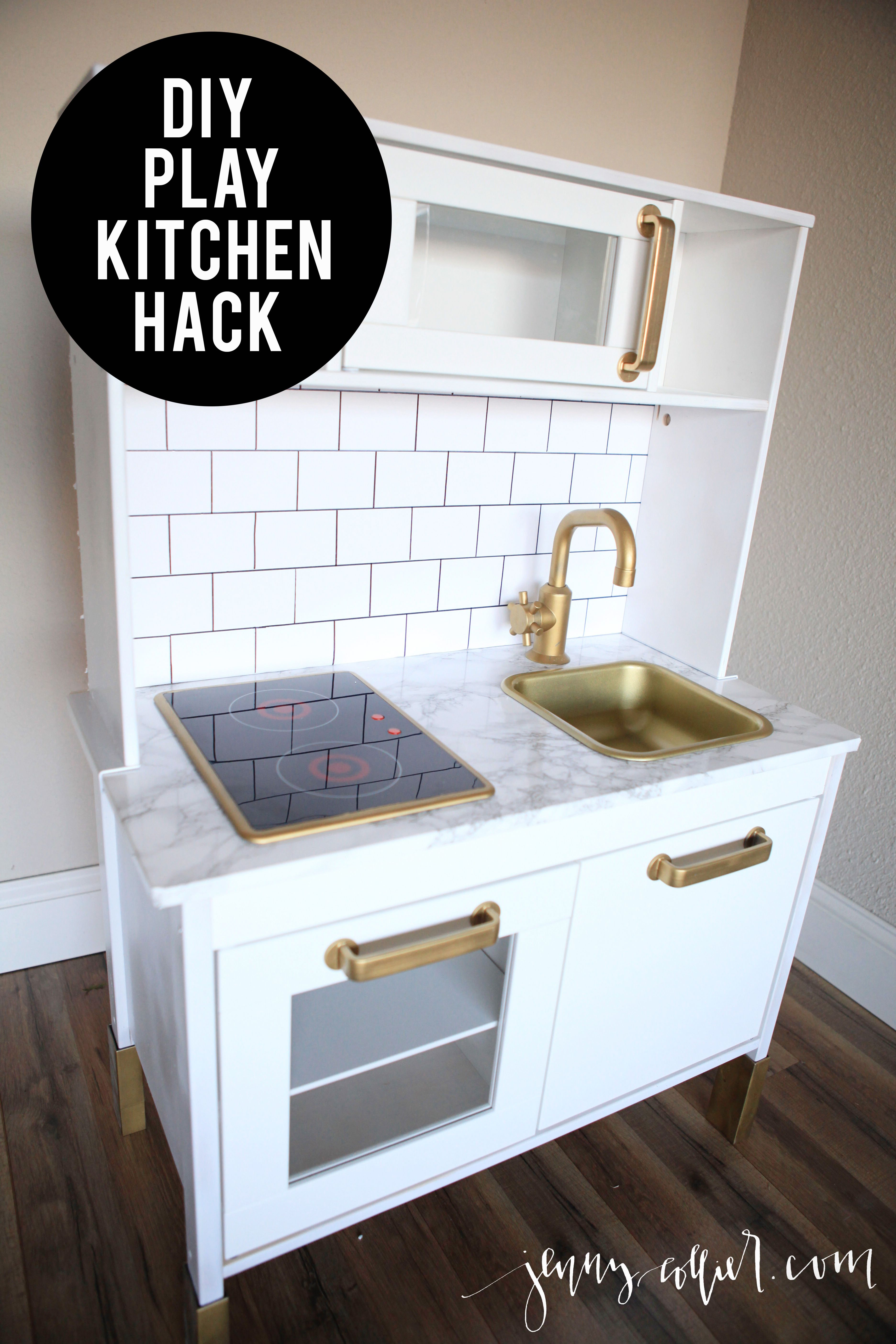 Sharing a tutorial for a chic DIY play kitchen hack