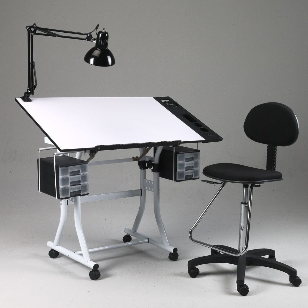Drawing Art Hobby Craft Table Desk W Drawers Side Tray
