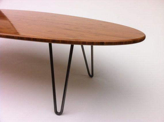 1808a7e47428 Surf Board Elliptical Mid Century Modern Coffee Table Hairpin Legs ...