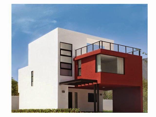 casa moderna de tres plantas con terraza paredes y muebles