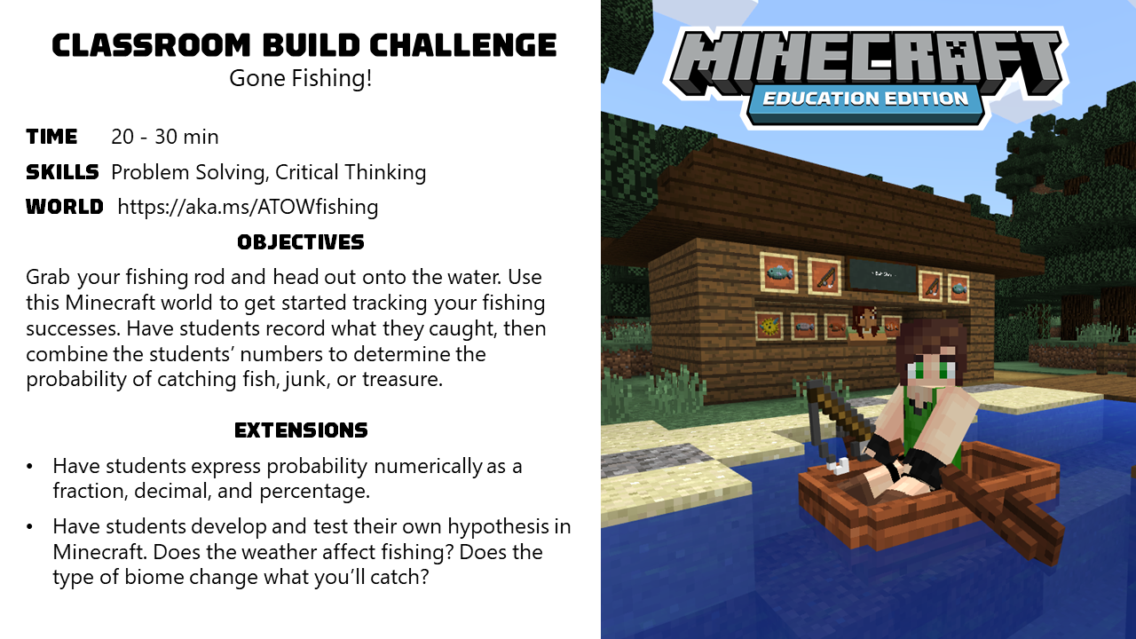 Activity Of The Week Gone Fishing Minecraft Education Edition Education Gone Fishing Activities