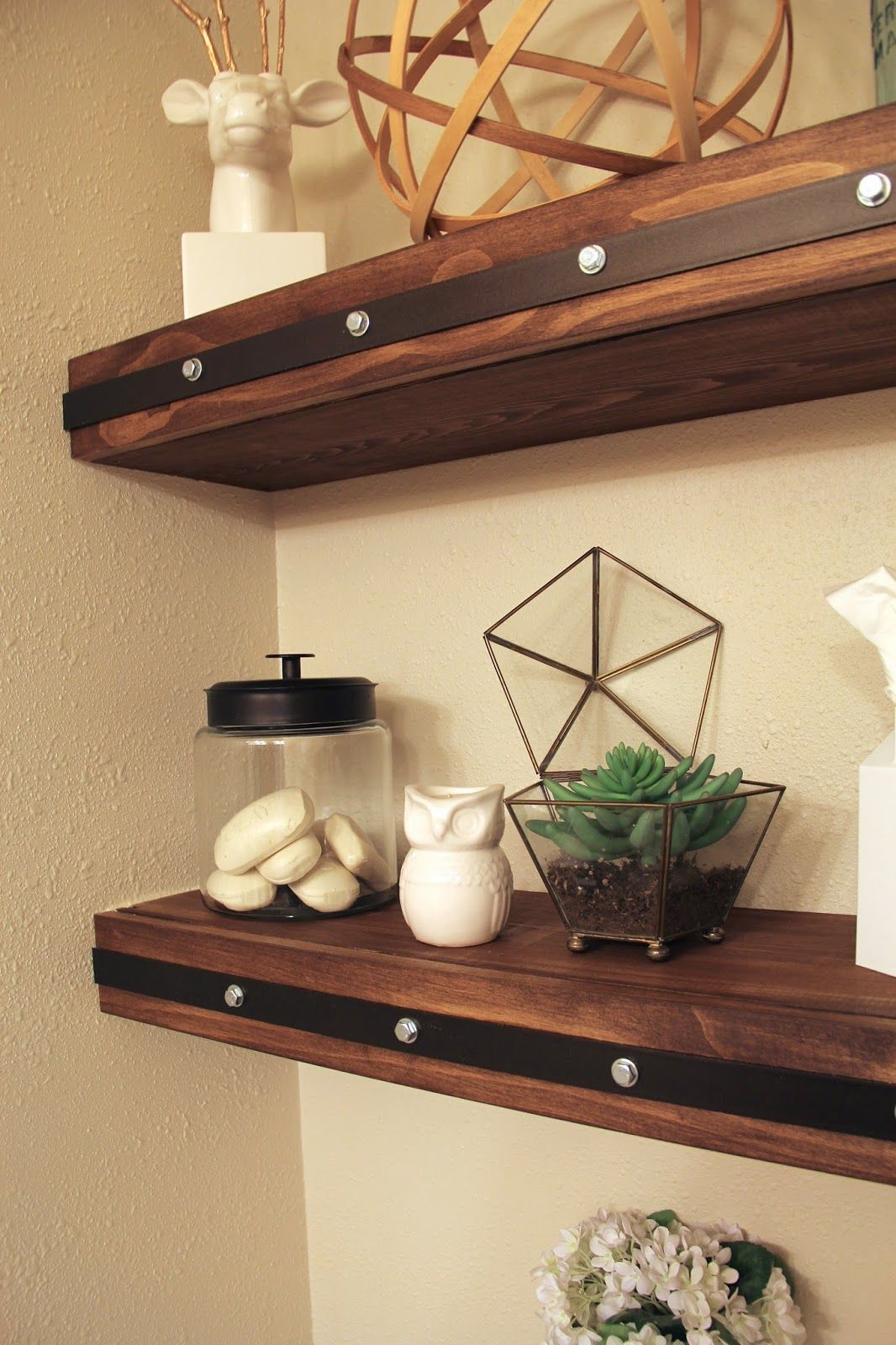 DIY Floating Shelves With Faux Rivets Wood