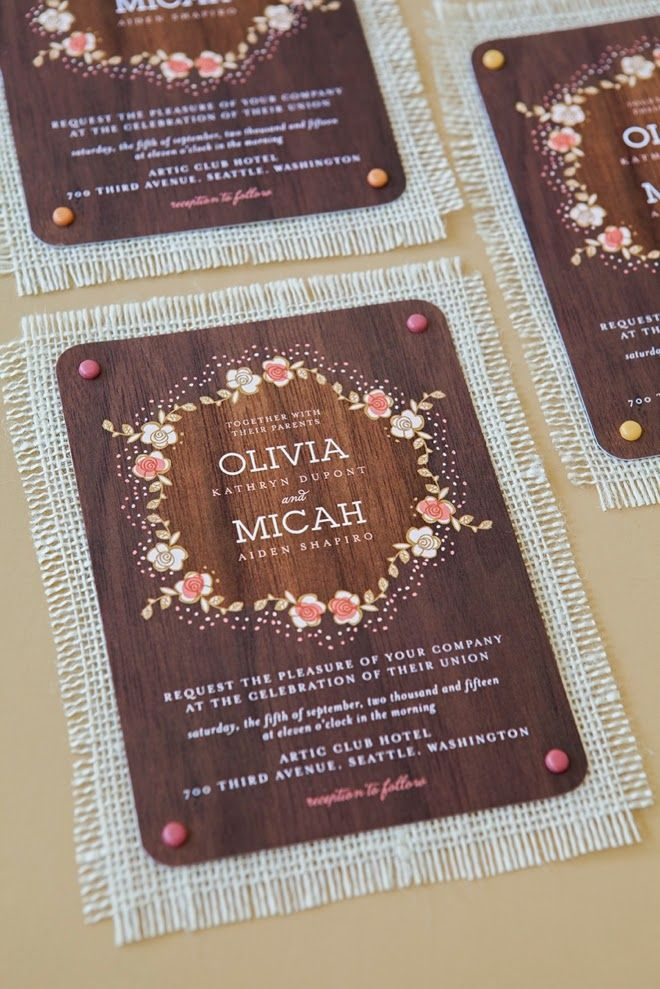 Love the fabric backing!     6 Unique Wedding Invitation Ideas - fresh invitation wording debut