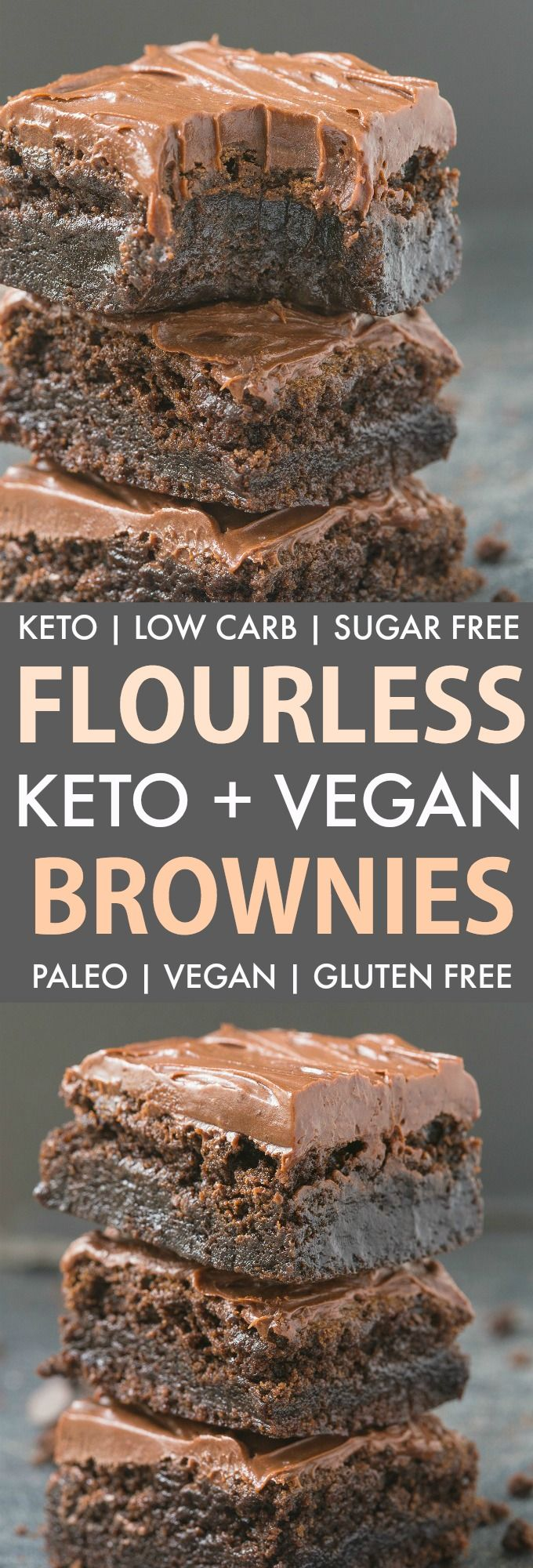 These Easy Flourless Fudge Brownies are gooey and low carb, you won't believe they are keto and vegan! Made with no eggs and no sugar, they are guilt-free and delicious! Paleo, Gluten Free, Sugar Free. #ketodessert #vegandessert #flourlessbrownies #flourless #lowcarbdessert #paleo #sugarfree