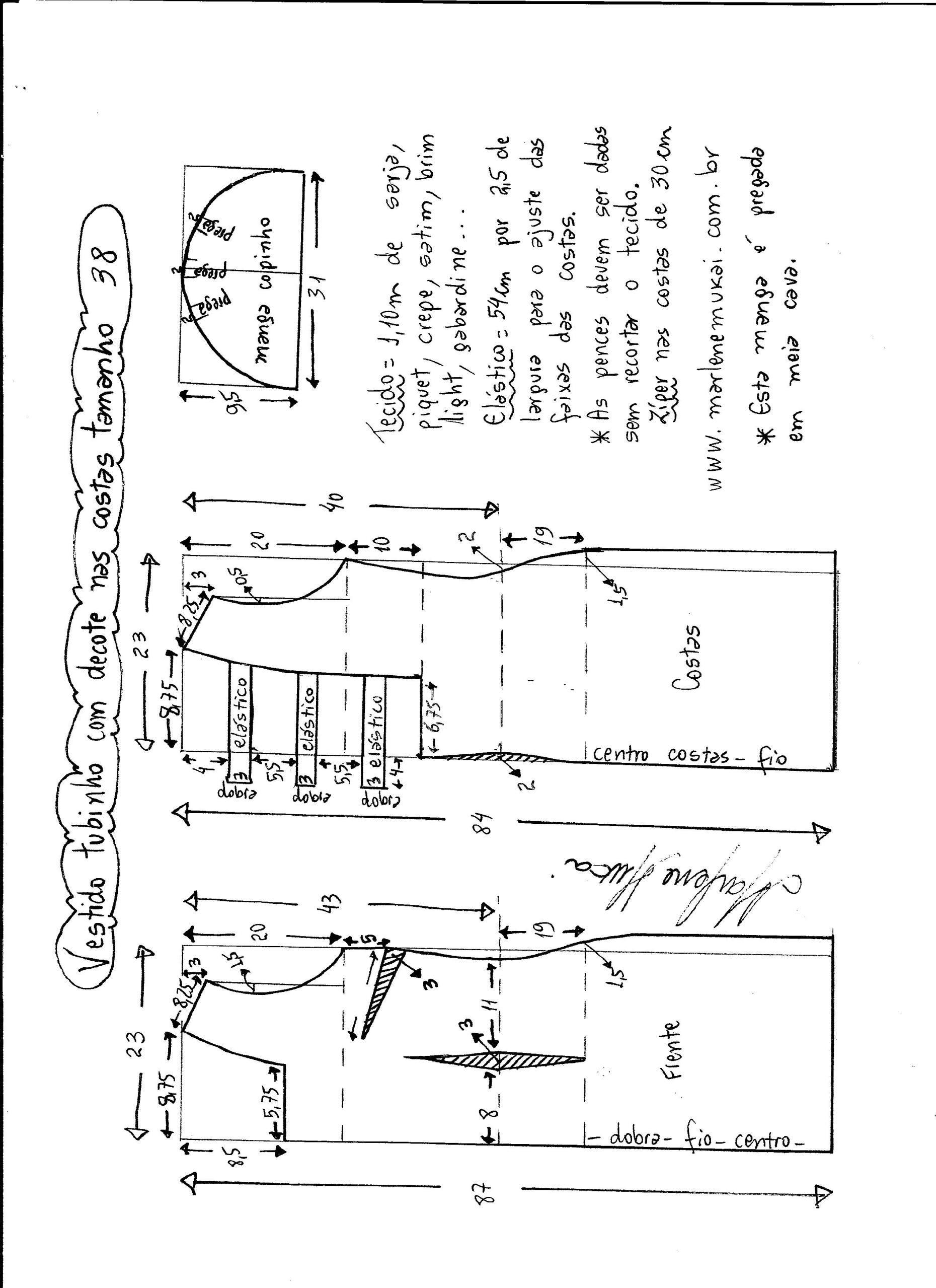 Vestido tubinho com decote nas costas | Bonito, Patrones y Costura