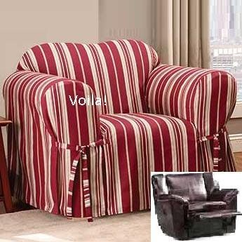 Reclining Chair Slipcover City Stripe Burgundy Adapted For Reclining Club Chair Slipcover 4 Recliner Couch Slipcovers For Chairs Recliner