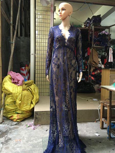 338614d7eb ShowMi Embroidery Long Sleeve Black White Lace Maxi Dress Boho Plus Size  Deep V Neck Tunic