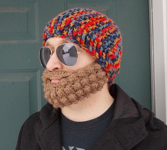 Crochet Bearded Beanie in Crazy Norwegian, Removable Beard, Mountain Man, Cabin, Woodland, Warm #crochetedbeards