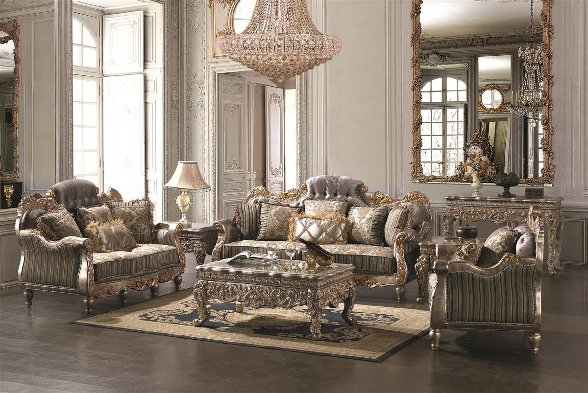 Captivating Formal Living Room Furniture Layout And Polina Upholstered Sofa Living Room  Set In Silver Gold Finish