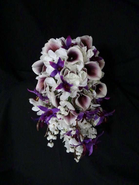 Cascading Pico Calla Lily Hydrangea Bouquet By Dressmywedding
