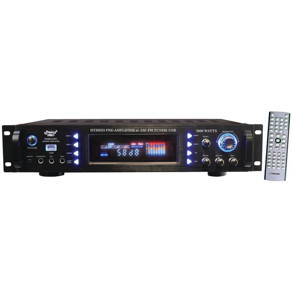 PYLE P3201ATU 3,000-Watt Hybrid Home Stereo Receiver Amp with USB. Separate  gain control for preamp & subwoofer; 3,000W peak power; ...