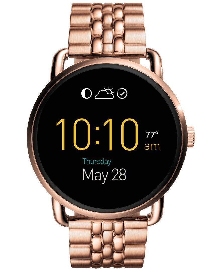Fossil Women S Digital Q Wander Rose Gold Tone Stainless Steel Bracelet Smart Watch 45mm Ftw2112 Fossil Smart Watch Fossil Watches Women Digital Watches Women