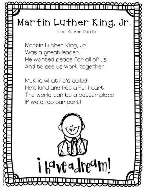 Mlk Poetry Freebie Kindergarten Kolleagues Luther Martin Luther