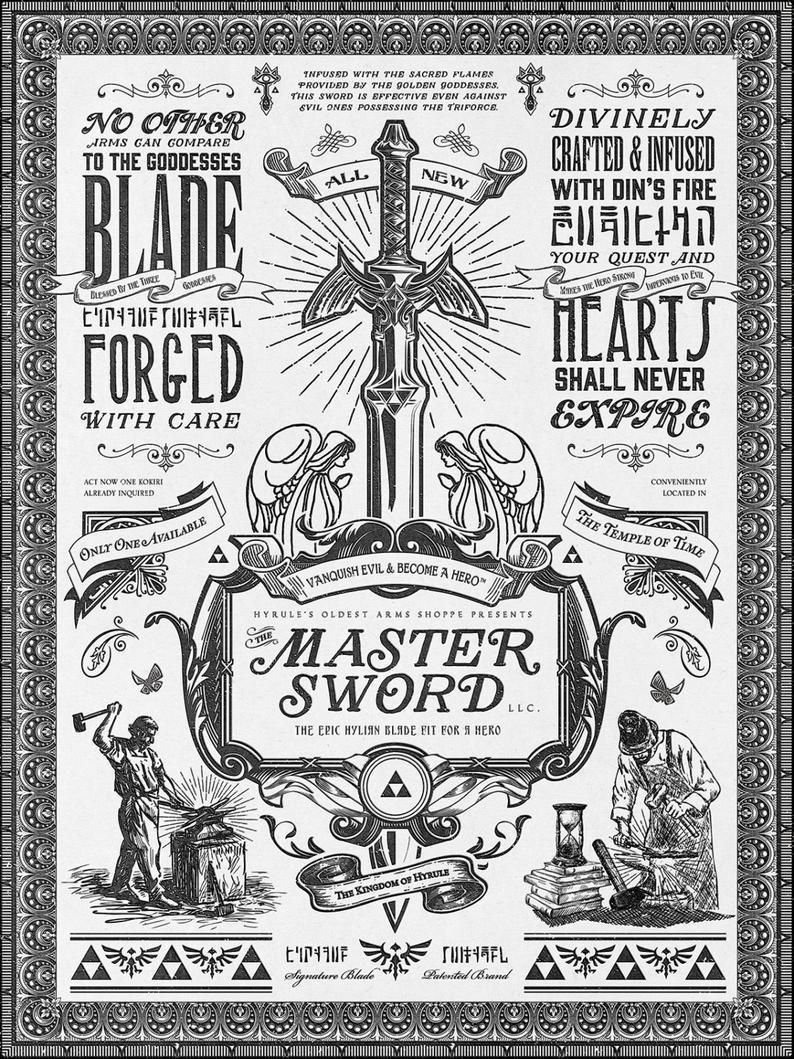 Vintage Legend of Zelda Advertisement Posters made by Barrett Biggers -