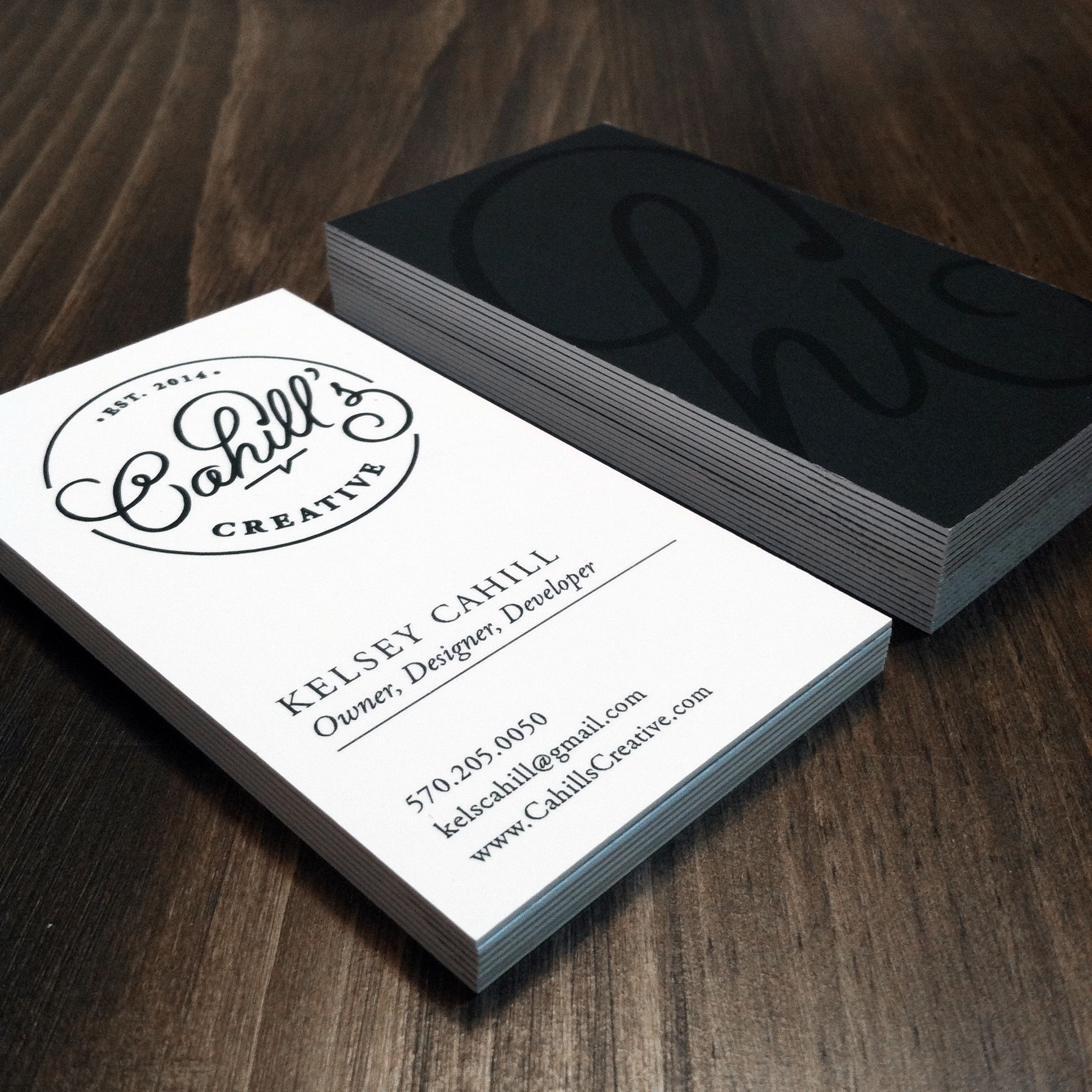 Cahill\'s creative business card design. Black and white business ...