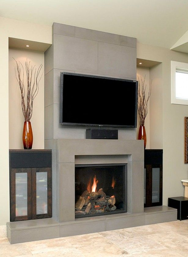 Exposed Grey Painted Concrete Electric Fireplace Tv Stand Wall