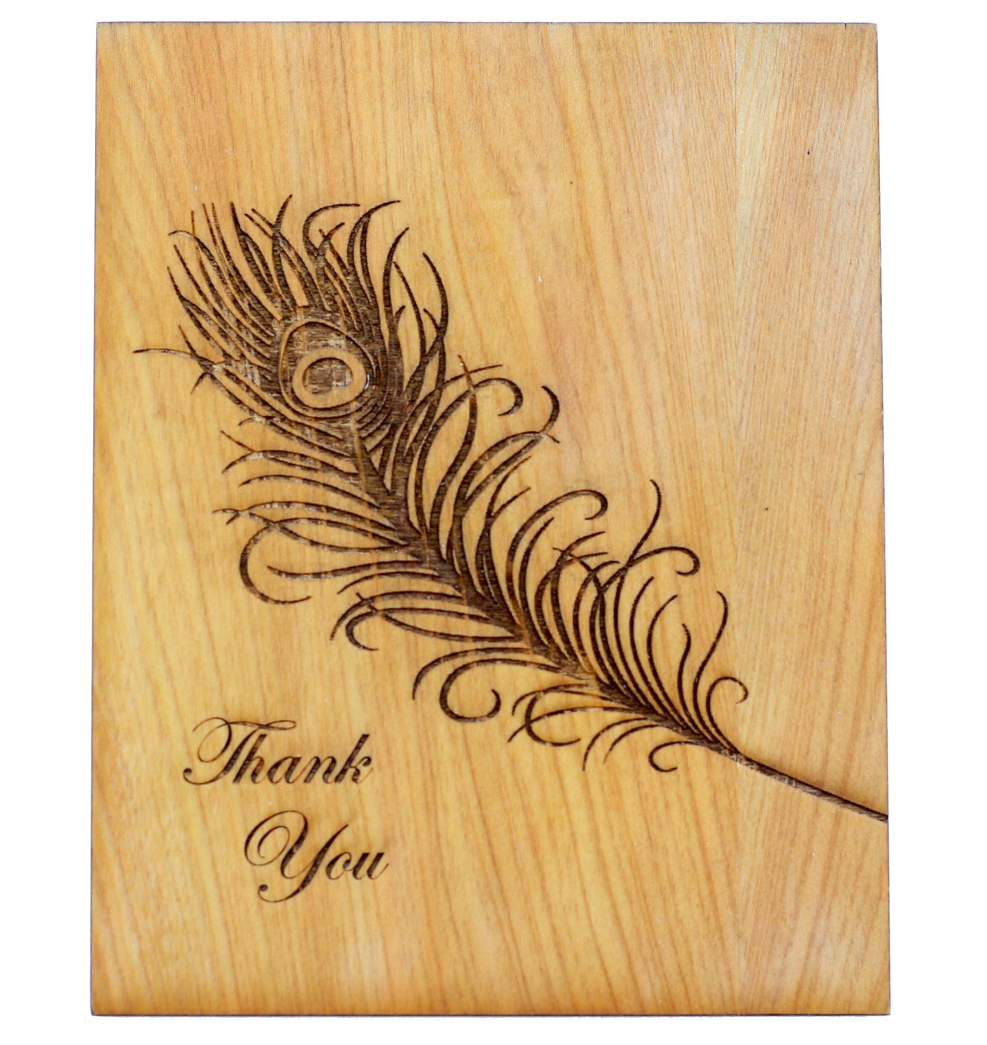 wood greeting card  thank you  unique business cards